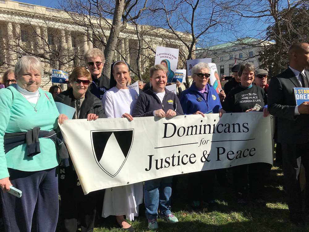 Ellen Nash with Sisters Mary Ann Collins and Arlene Flaherty at Catholic Day of Action in 2018