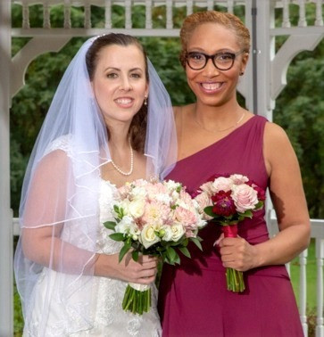 Morgan and I are pictured here at my wedding in October 2019.