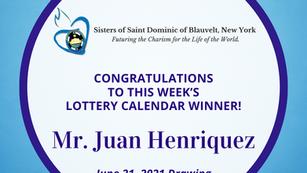 Lottery Calendar Winner - June 21, 2021