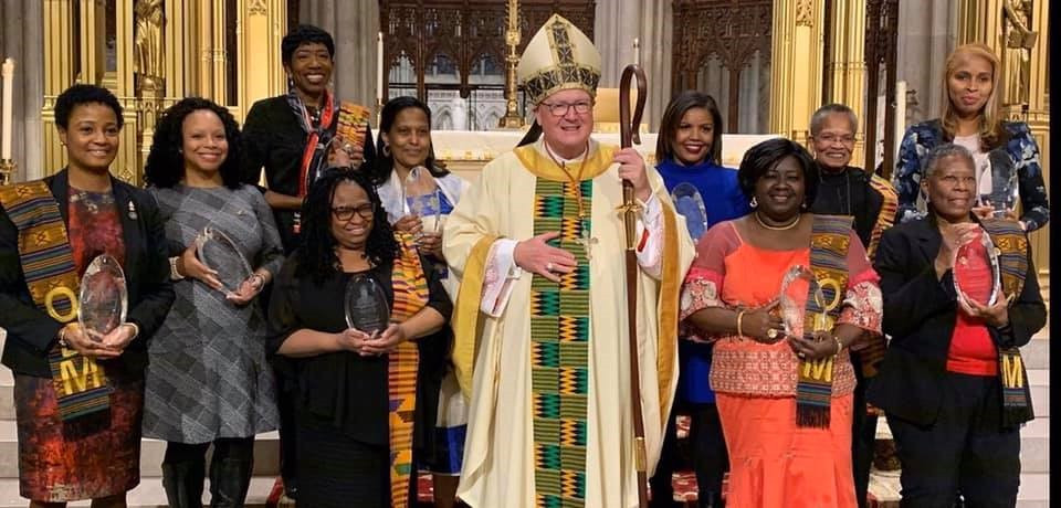 Bakhita Woman of Faith and Service Award Recipients with Cardinal Timothy Dolan