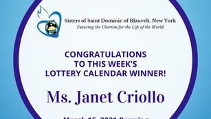 Lottery Calendar Winner - March 15, 2021