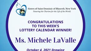 Lottery Calendar Winner - October 4, 2021