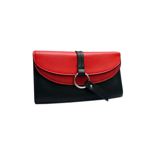 Double flap colour block purse