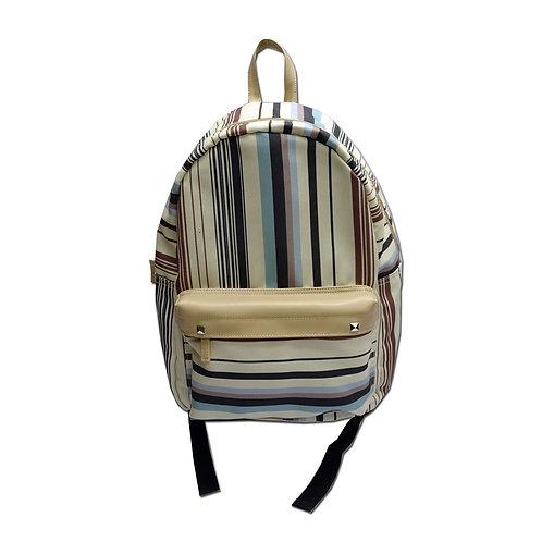 Stripe print canvas backpack