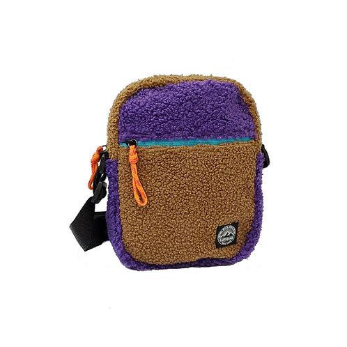 Teddy fleece colour block man bag