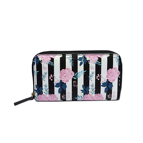 Floral print zip around purse