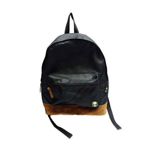 Nylon backpack with suede bottom