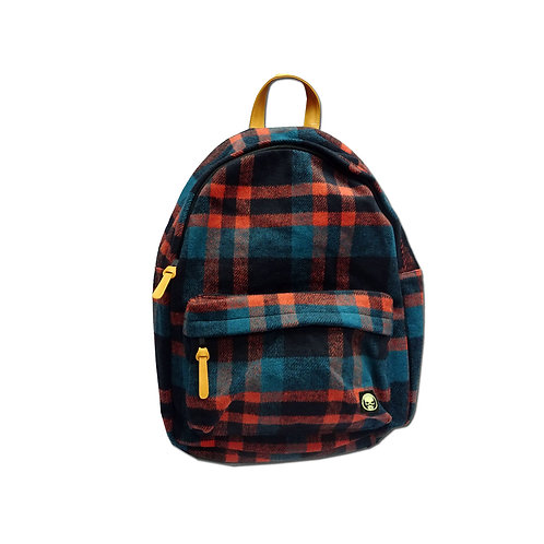 Check flannel backpack