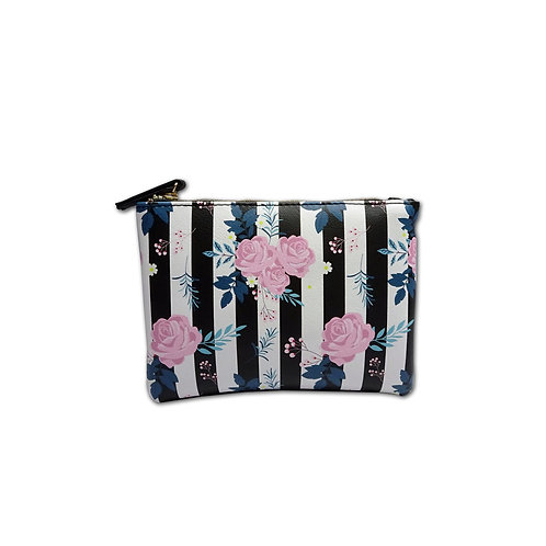 Floral print zip top purse