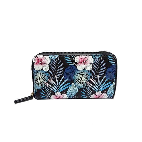 Novelty floral print zip around purse