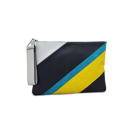 Colour block Zip top clutch
