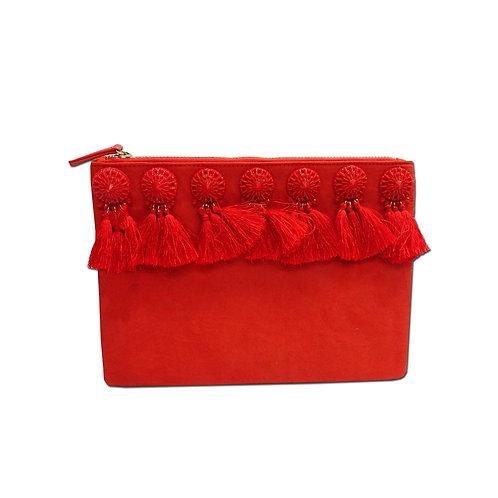 Tassel compartment clutch