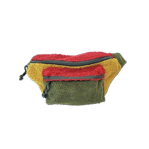 Colour block teddy fleece bum bag