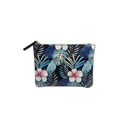 Novelty floral print zip top purse
