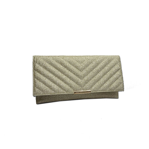 Quilted glitter clutch