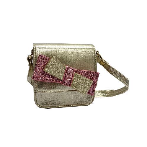 Double bow glitter mini bag