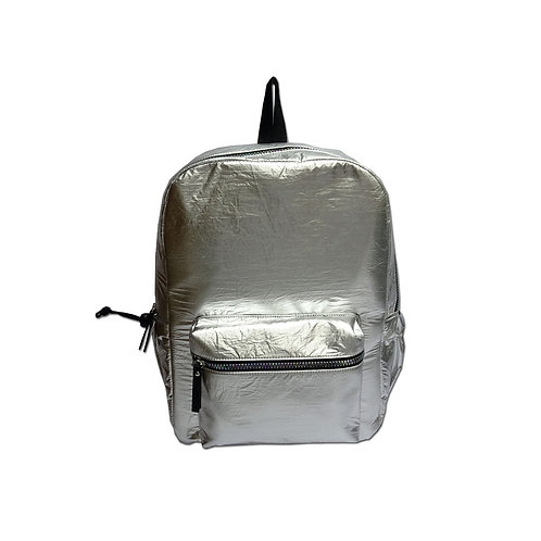 Metallic nylon backpack