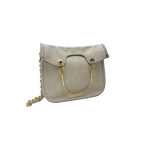 Metal handle shoulder bag