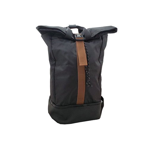 Shiny nylon rolltop backpack