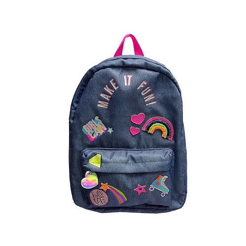 Chambray badged backpack