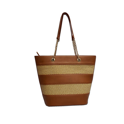 Straw panel tote