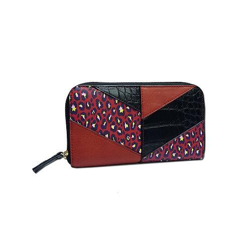 Leopard patchwork wallet