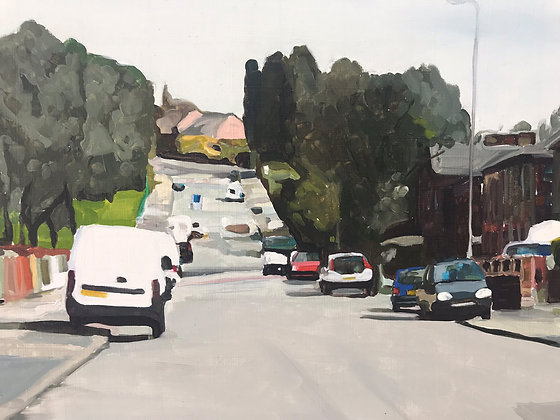 Oaklands Road- Salford - oil on board