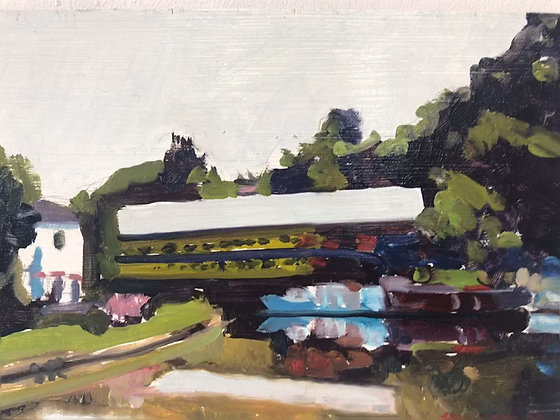 Monton Canal - Salford  - oil on board