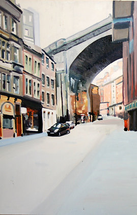 Grey St Newcastle - oil on board
