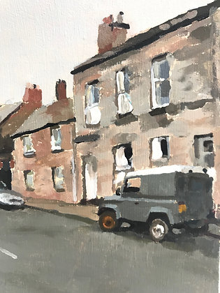 Berwick Upon Tweed with Land Rover  - oil on board