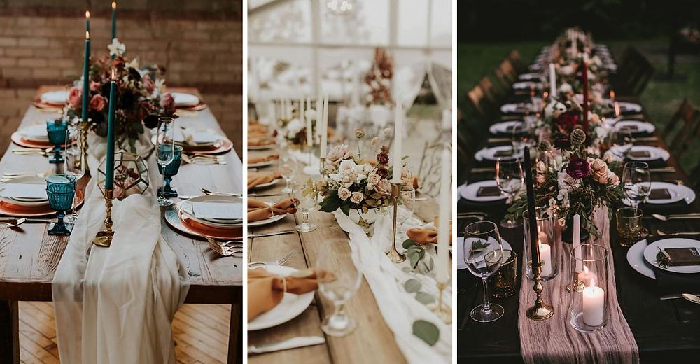Inspirations pour décors de mariage d'automne et d'hiver avec des touches de bois.