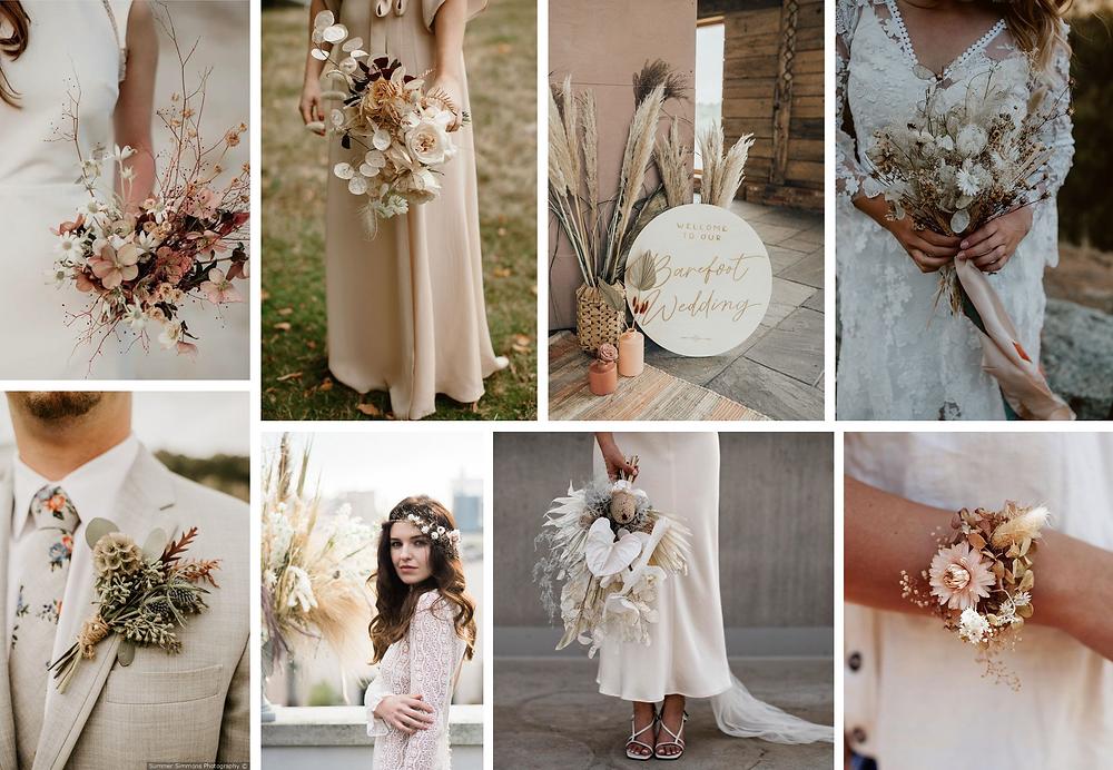 Bouquets, boutonnière, corsage et décorations réalisés à partir de fleurs séchées, pour les mariages d'automne et d'hiver.