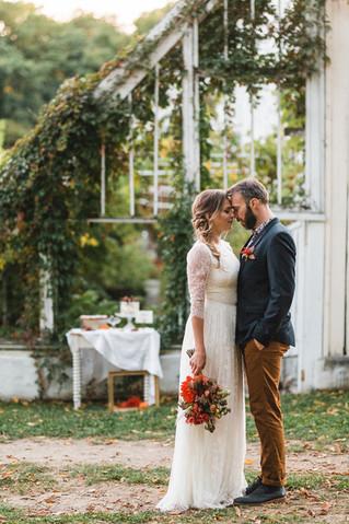 Un mariage d'automne bohème romantique