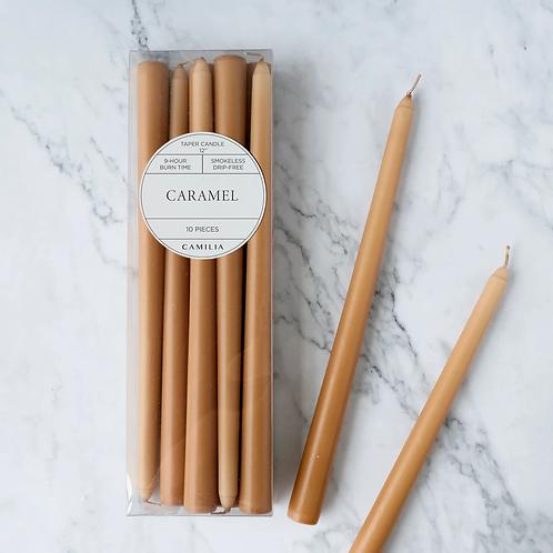 Bte de 10 chandelles effilées 12 po, Caramel