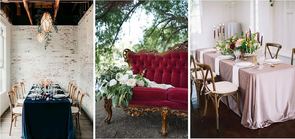 Inspirations pour décoration de mariages d'automne et d'hiver avec du velours.