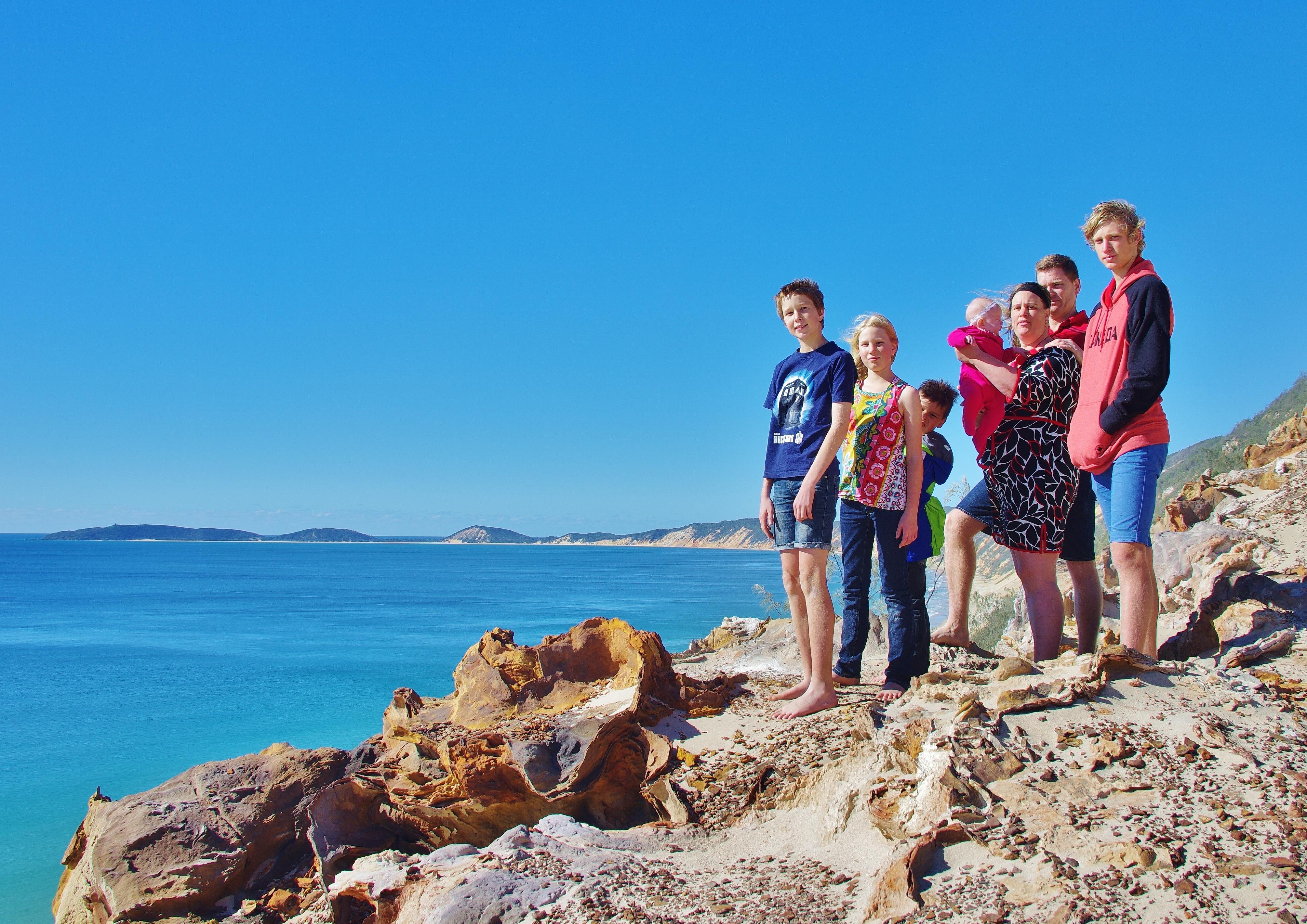 Family at Rainbow Beach Sandblow 1