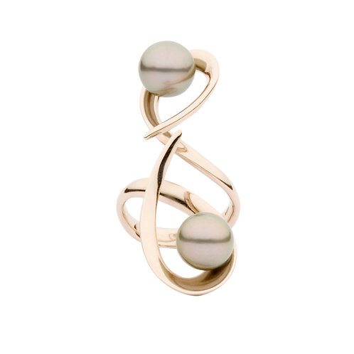 Ripple Ring with Tahitian Pearl