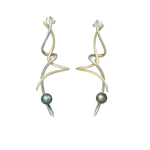 18ct Pirouette Earrings with Pearl