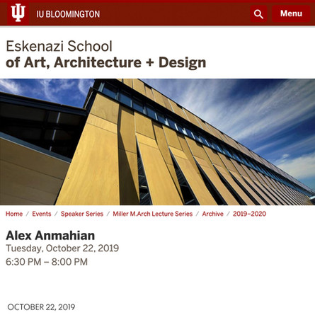 Alex Anmahian presents AW's recent work at the Indiana University J. Irwin Miller Architecture Program Lecture Series