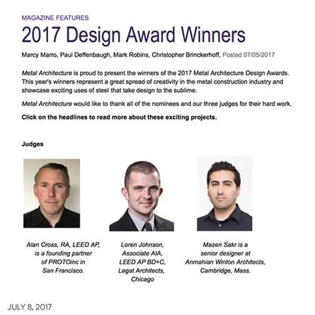 Mazen Sakr serves on design jury for 2017 Metal Architecture Design Awards