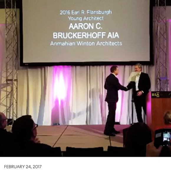 Aaron Bruckerhoff presented with the 2016 BSA Flansburgh Young Architects Award