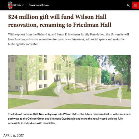 AW's state-of-the-art classroom building at Brown University receives $24M gift and new name — Friedman Hall