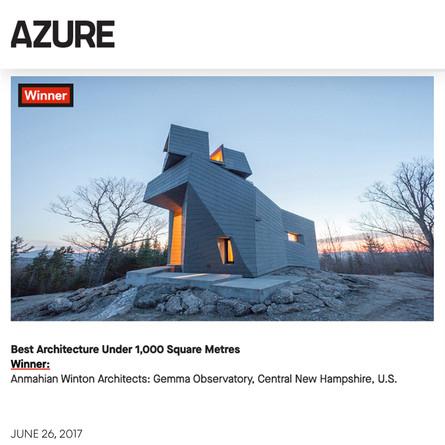 Gemma Observatory wins 2017 AZ Award for Best Architecture Under 1,000M2