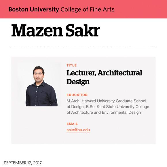 Mazen Sakr to teach Boston University's first design studio for Architectural Studies majors