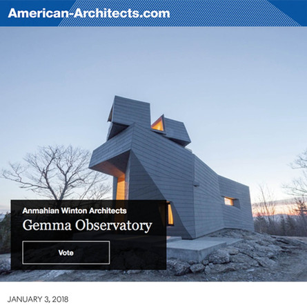Gemma Observatory named a finalist for American-Architects Building of the Year 2017