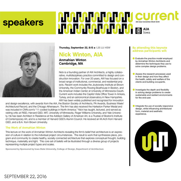 Nick Winton to give morning keynote lecture at the AIA Iowa Convention