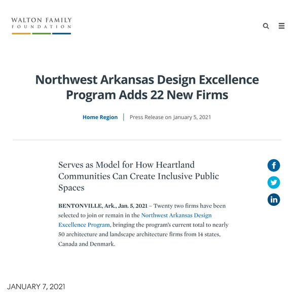 We're excited to announce our selection as one of 22 firms nationwide joining the Walton Family Foundation's Northwest Arkansas Design Excellence Program