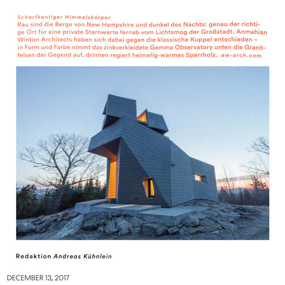 Gemma Observatory featured in AD Architectural Digest Germany