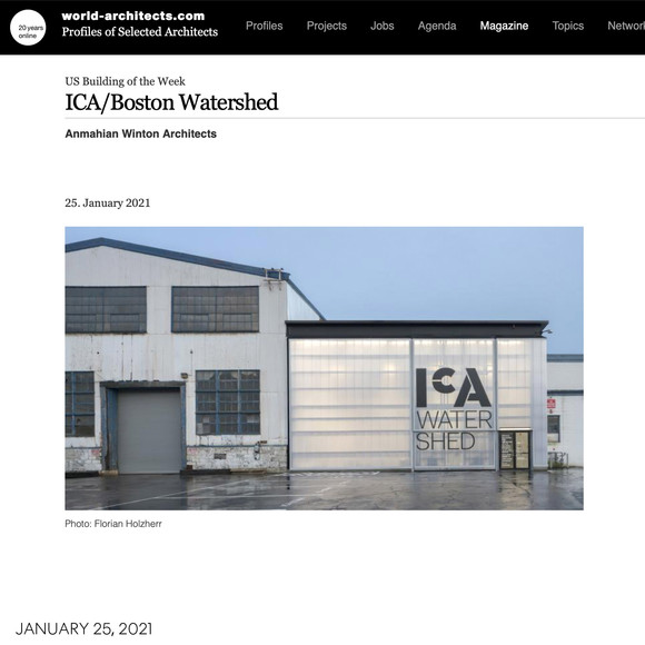 ICA Watershed named world-architects.com US Building of the Week