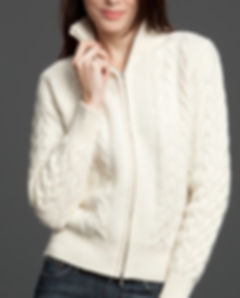 Women's Cashmere Cabled Zip Cardigan